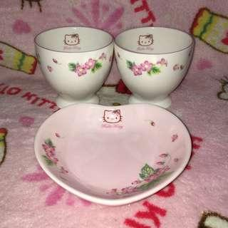 Hello Kitty Ceramic 2pcs Cup with Heart Shaped Plate