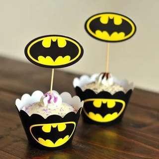 杯子蛋糕 cup cake 卡通 插牌 蝙蝠俠 蜘蛛俠 隊長