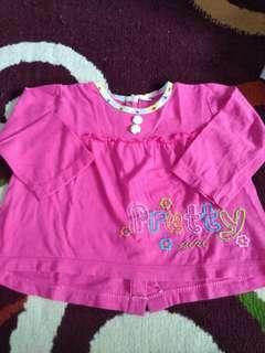 Baju bayi lengan panjang (pink)