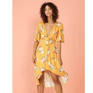 SUNSET BLOOM MIDI DRESS