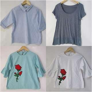 (XL) set of 4 unbranded tops, all in almost looks new no flaw, all in nice and stretch fabric,