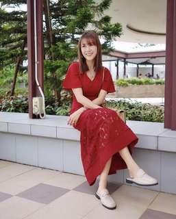 🚚 BNWT Eternity Loft Skylar Lace Hem Midi Dress Wine Red