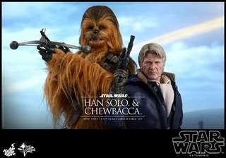 Hot Toys Star Wars The Force Awakens TFA Chewbacca and Han Solo Figure Set