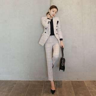 Checkered blazer + suit