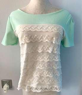 🚚 Mint Green Lace Top