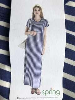 🚚 Spring Maternity Amelia Maxi Dress in Navy Stripes
