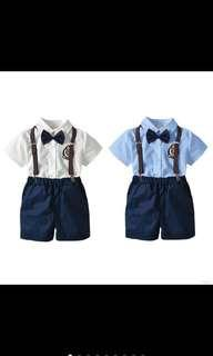 🚚 Boy kid baby top pants suspender set infant toddler kids