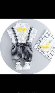 🚚 Baby boy kid top pants collar shirt suspender set infant toddler kids