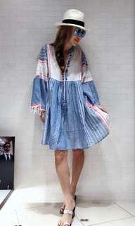 歐洲品牌 藍白色one piece 裙