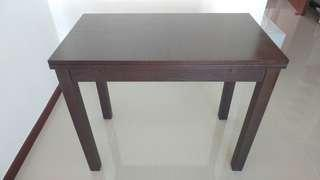 Ikea dark timber wood extendable dining table