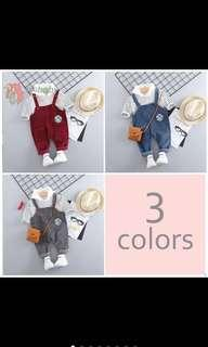 🚚 Boy kids baby shirt top pants suspender set toddler kids