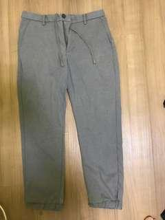 Uniqlo grey office pants with draw string and sporty hem