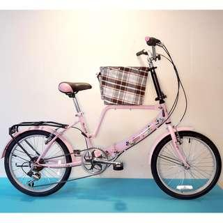 JY (豪華版) 20吋 6速 (小籃) 寵物自行車 SHIMANO (粉紅色) 拆掉籃子基座變淑女車 寵物籃 另可當親子車(價格另計)