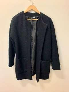Black wool straight coat