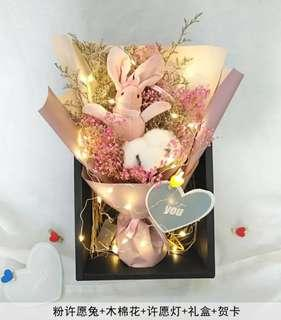 🚚 Dried Flower Bouquet with LED light (pink or grey rabbit)
