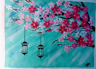 Cheery blossoms acrylic painting
