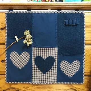 🚚 深海藍/棉布【多用途】3格收納掛袋 愛心 厚磅