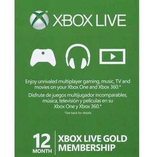 XBox gold Live 金會員 1月-12月 給序號輸入開通 最新優惠