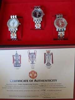 Manchester United treble watch set