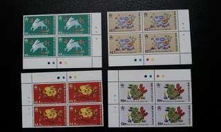 香港1987兔年四方連郵票