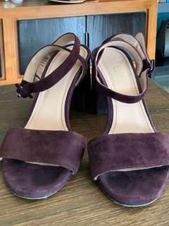 Barneys Suede Crisscross Ankle Strap Sandals - Plum in US 6