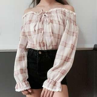 🚚 Checkered Shoelace Tired Off Shoulder Blouse