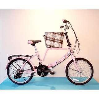JY (豪華版) 20吋 21速 (小籃) 寵物自行車 SHIMANO (粉紅色) 拆掉籃子基座變淑女車 寵物籃 另可當親子車(價格另計)