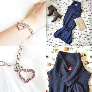 FREE POS Vintage Chunky Knit Tunic in Navy + MARKS & SPENCER Chunky Statement Chain Charm Bracelet with Pink Bejewelled Heart in Silver