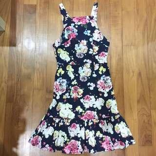 Halter Floral Backless Dress