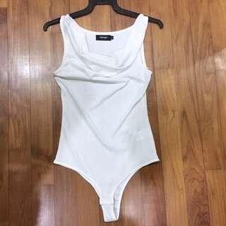 White Cowl Neck Bodysuit