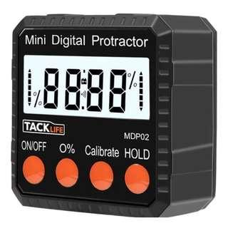 U2433 Tacklife MDP02 Digital Angle Gauge Level / Protractor Inclinometer/Stainless Steel Angle Finder with Strong Magnetic Base, Large LCD display and Protective Bag ( Handheld Size with Accuracy ±0.3°)