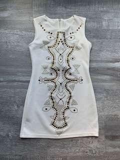🚚 Metal Studded White Dress