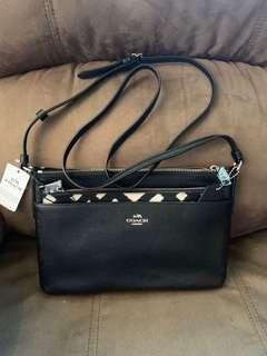 Coach Eastwest Crossbody With Pop Up Pouch in Wild Plaid Print (Black& White)