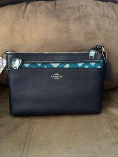 Coach Eastwest Crossbody with Removable /Pop up Pouch in Plaid Print (Aqua/Blue)