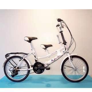 JY (豪華版) 20吋 21速 SHIMANO 摺疊 親子車 (白色) 拆掉橫座變淑女車 另可當寵物自行車(價格另計)  前座與後座安全座椅價格另計