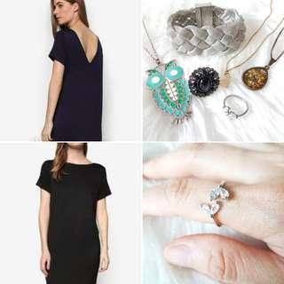FREE POS Zalora V Back Dress in Navy + Statement Jewellery Bundle