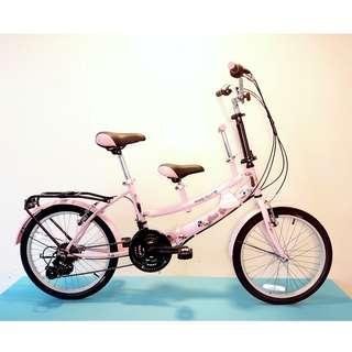JY (豪華版) 20吋 21速 SHIMANO 摺疊 親子車 (粉紅色) 拆掉橫座變淑女車 另可當寵物自行車(價格另計)  前座與後座安全座椅價格另計