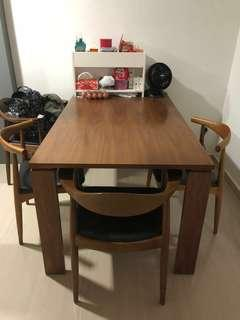 Wooden wood dining table with chairs