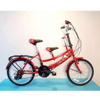 JY (豪華版) 20吋 21速 SHIMANO 摺疊 親子車 (紅色) 拆掉橫座變淑女車 另可當寵物自行車(價格另計)