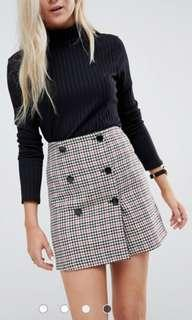 ASOS double Breasted mini skirt in check with buttons