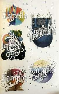 Typography Graphic Stickers VI