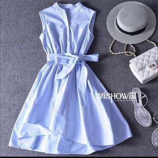 Baby blue striped high low dress