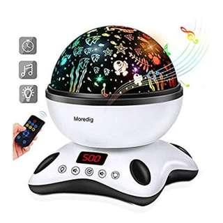 U2412 Moredig Projector Night Light Lamp with LED Timer and Remote Control, 8 Colors Star Projector Light for Kids Adults Sleeping Aid (Black & White)