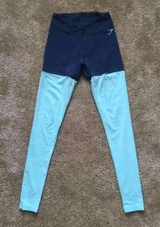 🚚 Gymshark Authentic Two Tone V Shape Leggings Tights Blue Mint