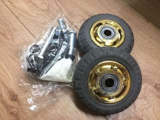 🚚 平板手推車輪4吋橡膠靜音含螺絲 二手未用新品