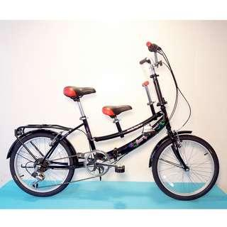 JY (豪華版) 20吋 6速 SHIMANO 摺疊 親子車 (黑色) 拆掉橫座變淑女車 另可當寵物自行車(價格另計)  前座與後座安全座椅價格另計