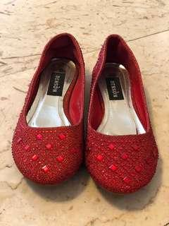 🚚 Red party wear flats