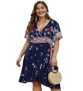 🚚 Pre Order [ XL - 4XL ] Plus Size Korean Flora Dress