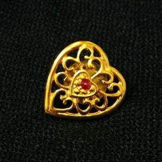 PRE💙D Vintage Filigree Gold Tone Heart Lapel Pin with Red Gem Stone Jacket Tack