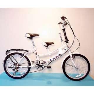 JY (豪華版) 20吋 6速 SHIMANO 摺疊 親子車 (白色) 拆掉橫座變淑女車 另可當寵物自行車(價格另計)  前座與後座安全座椅價格另計